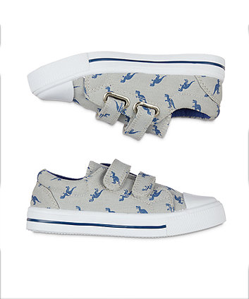 back to nursery grey dino canvas trainers