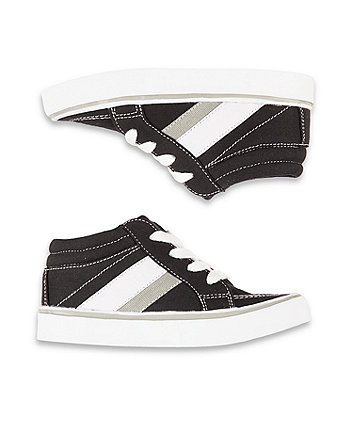 black canvas hi-top trainers