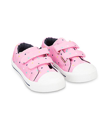 back to nursery pink heart canvas trainers