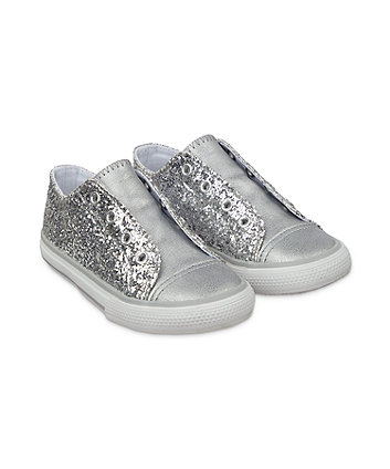 silver glitter laceless trainers