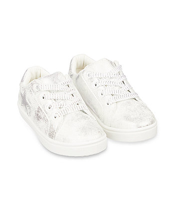 white shimmer star canvas trainers