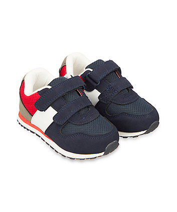 navy and red sporty trainers