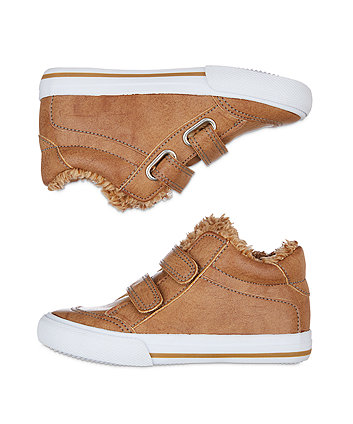 tan fleece-lined hi-top trainers