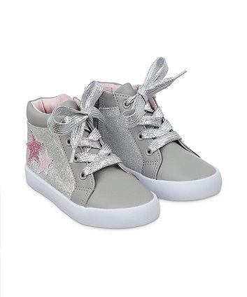 grey glitter hi-top trainers