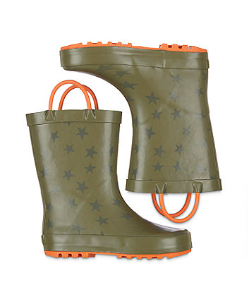 back to nursery khaki star wellies