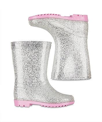 silver glitter wellies