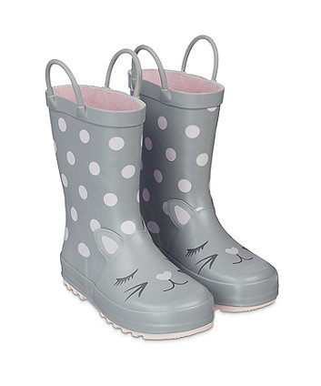 grey cat wellies