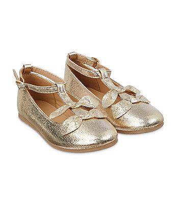 gold bow ballerina shoes