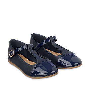 navy t-bar ballerina shoes