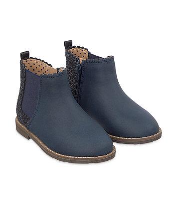 navy glitter chelsea boots
