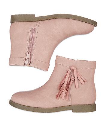 pink tassel boots