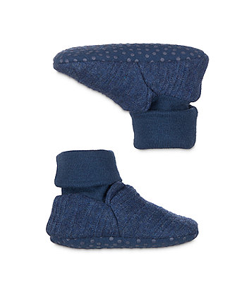 my first blue sock top baby booties - 3 pack