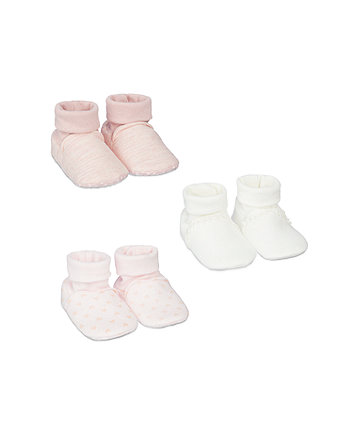 my first pink sock top baby booties - 3 pack