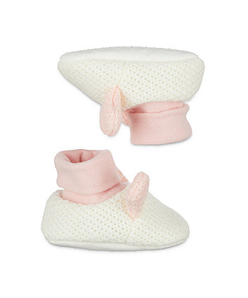 pink knitted bunny sock top baby booties