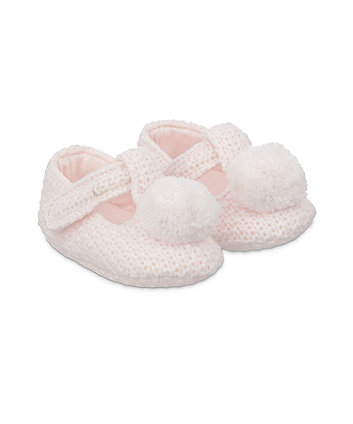 pink knitted t-bar baby booties
