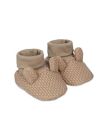 brown knitted bunny sock top baby booties