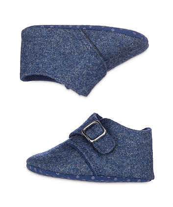 blue felt pram shoes