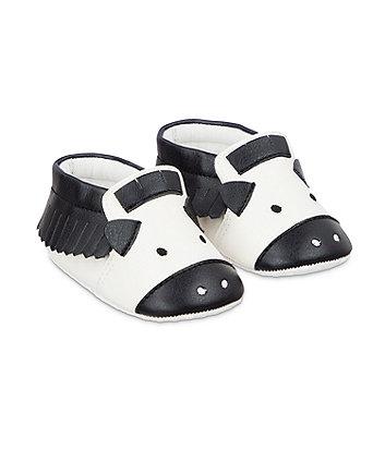 zebra moccasin pram shoes