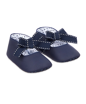 navy bow pram shoes