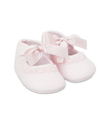 pink lace pram shoes