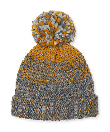 grey and mustard beanie hat
