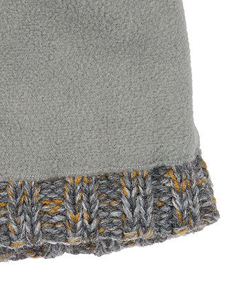 grey and mustard beanie hat