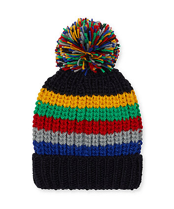 multi-stripe beanie hat