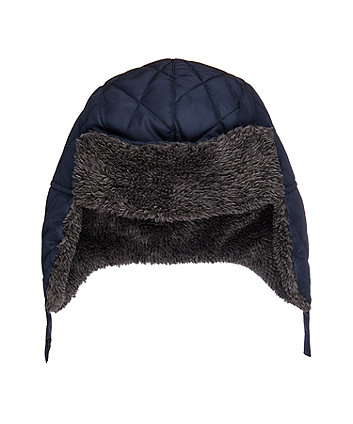 borg lined quilted trapper hat