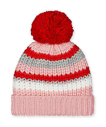red pom pom stripe beanie hat