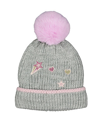 grey glitter badge beanie hat