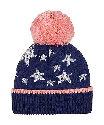 navy silver star beanie hat