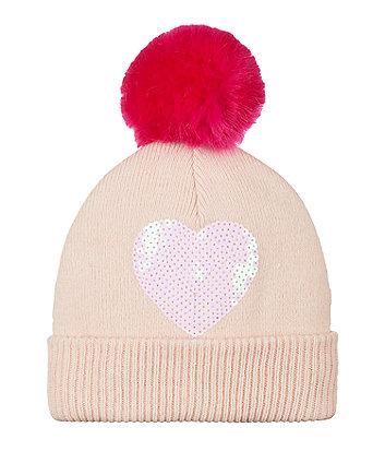 sequin heart beanie hat