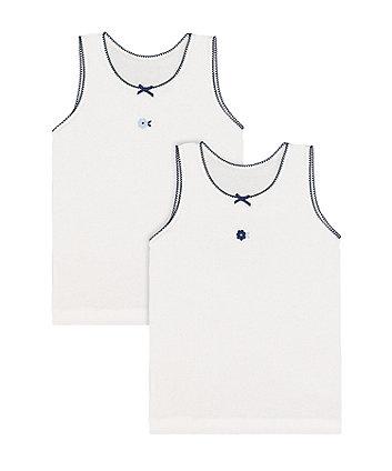 white flower vests - 2 pack