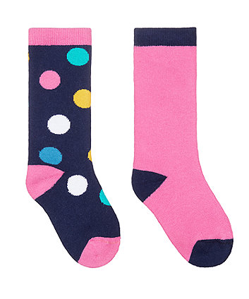 pink and spot welly socks - 2 pack
