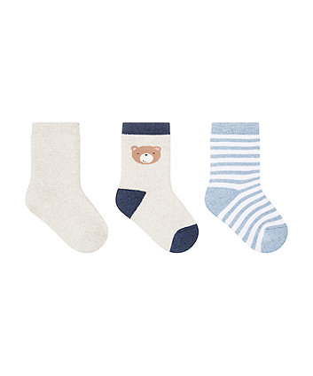 little bear terry socks - 3 pack