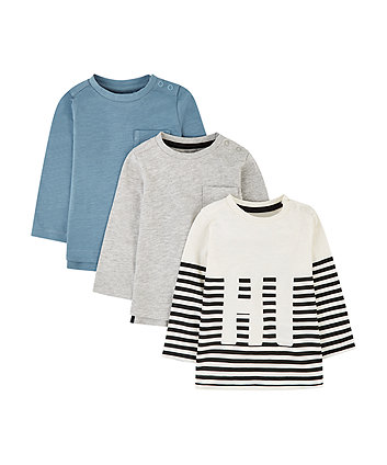 stripe, grey and blue t-shirts - 3 pack