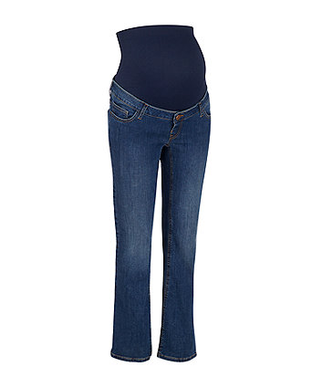 mid-wash over-the-bump bootcut maternity jeans