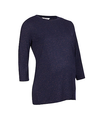navy fleck wrap nursing top