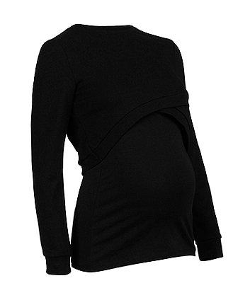 black cropped nursing sweat top