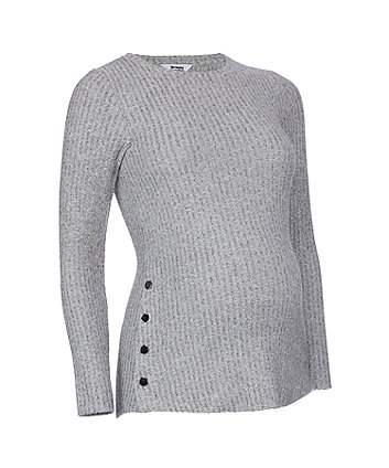 grey ribbed popper nursing top