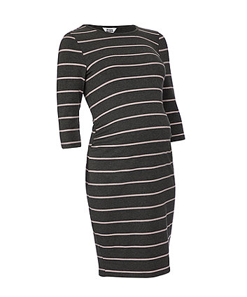 charcoal and pink striped maternity tube dress