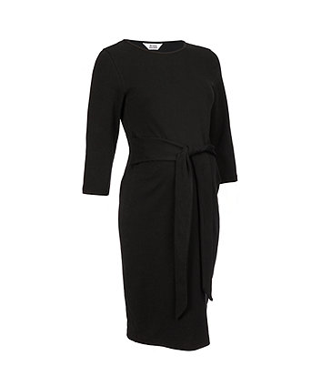black-ribbed tie maternity dress