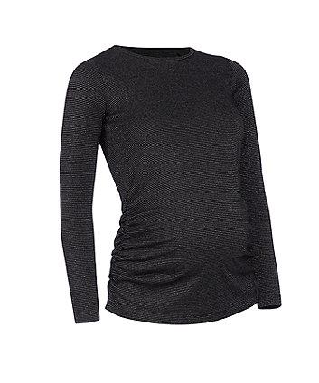 black lurex sparkle maternity top
