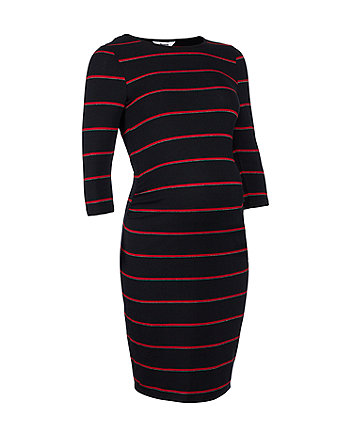 red and silver striped maternity tube dress
