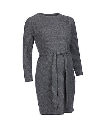 charcoal rib lounge maternity dress