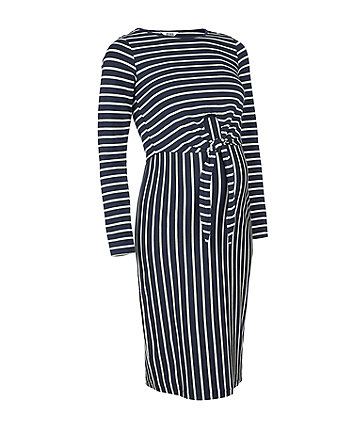navy striped nursing dress
