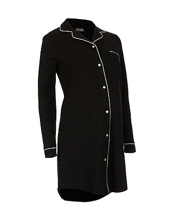 black button-through nursing nightdress