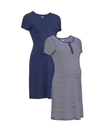navy stripe and marl nursing nightdresses - 2 pack