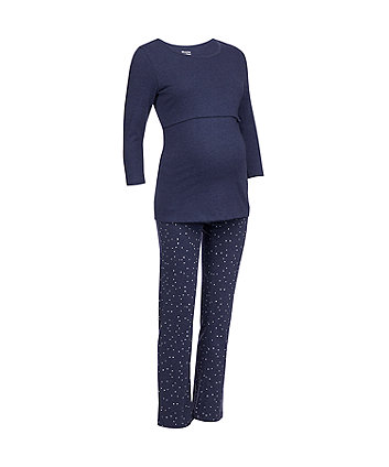 navy spot nursing pyjama set