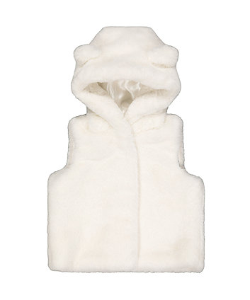 cream faux fur gilet with hood